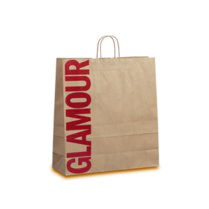 Paper bags with wisted handle made of kraft striped paper