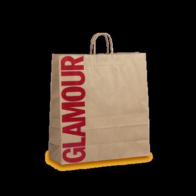 Χάρτινες τσάντες με στριφτό χεράκι από κραφτ ριγέ χαρτί