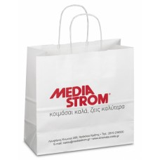 Ecological paper bags with white twisted handle