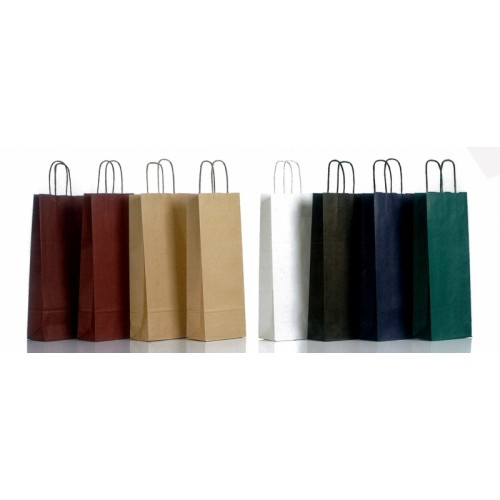 Χάρτινες τσάντες ποτού μονόχρωμες με χάρτινο χεράκι στριφτό