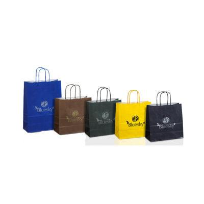 Χάρτινες οικολογικές τσάντες με φόντο σε πολλά χρώματα