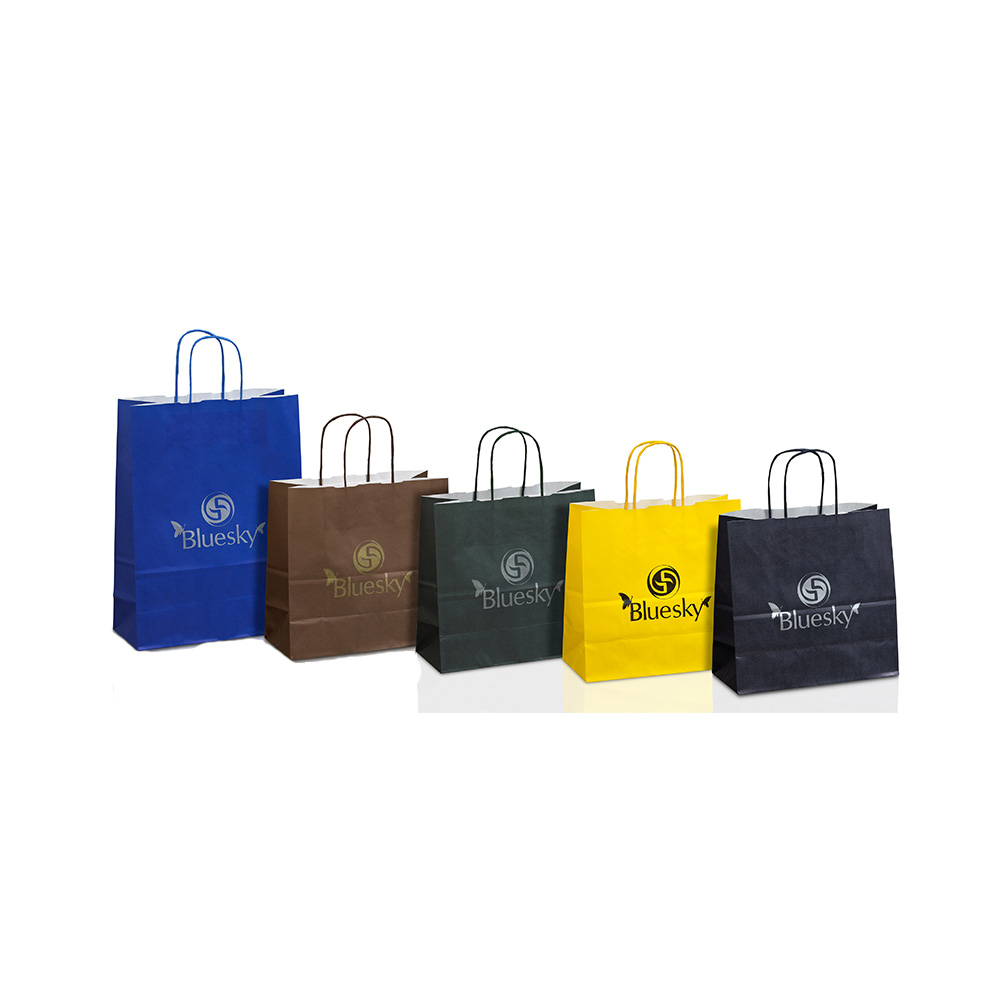 Ecological paper bags with background in many colors